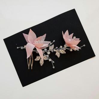 Свадебное украшение для волос, гребешок в прическу, украшение в прическу невесте, розовое украшение
