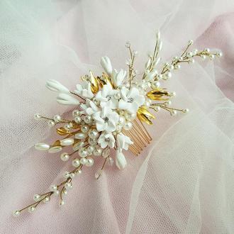 Весільна прикраса для волосся, гребінець в зачіску, прикраса в зачіску нареченій