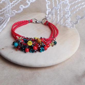 Красный браслет с цветами, браслет с миниатюрными цветами ручной работы