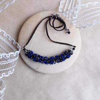Темно синее колье, колье с цветами, вечернее украшение, подарок