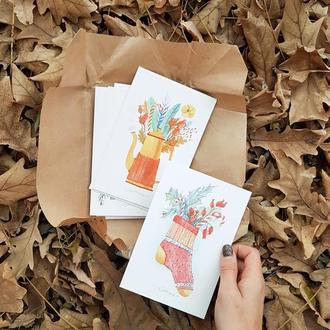 Новогодние зимние открытки
