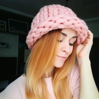 Теплая шапка Хельсинки крупной вязки