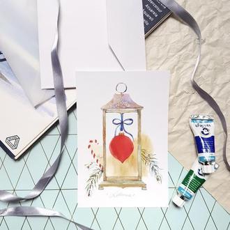 Рождественские акварельные открытки