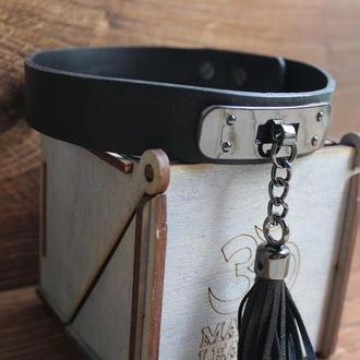 Кожаный браслет чокер с кисточкой + коробка в подарок mantra leather