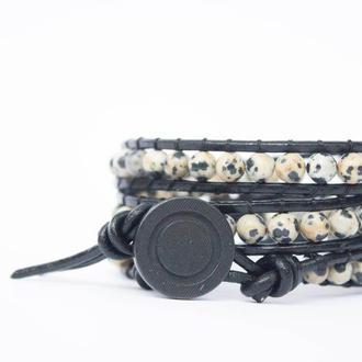Спиральный браслет  чан лу chan luu из натуральных камней. яшма далматиновая