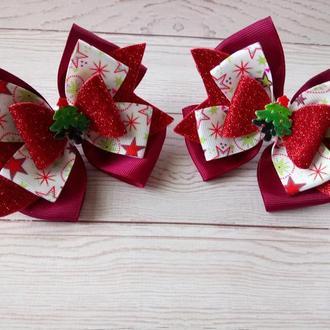 Новорічні бантики з ялинкою (ціна за пару) Новогодние бантики с елочкой