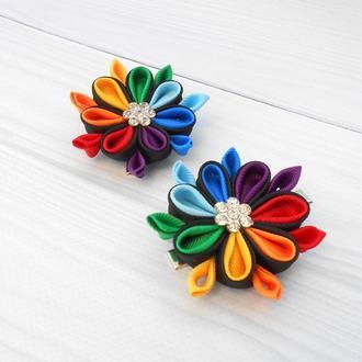 Набор радужных заколок для девочки Украшение для волос канзаши в подарок на зажимах