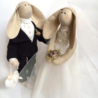Свадебные зайки тильда, жених и невеста свадьба подарок помолвка девичник молодожёны юбилей годовщин