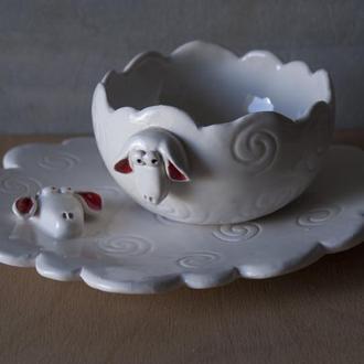 """Набор керамической посуды """"Овечки""""  для детей и взрослых"""