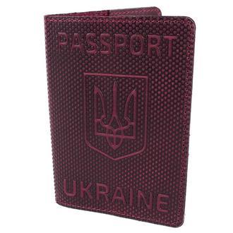 """Обложка на паспорт кожаная """"Герб"""" бордовая"""