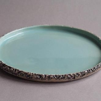 Тарелка керамическая плоская с декоративным краем