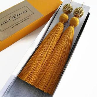 Горчичные, желтые шелковые серьги-кисти LILEI JEWELRY