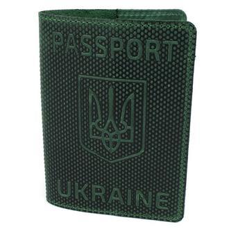 "Обложка на паспорт кожаная ""Герб"" зеленая"