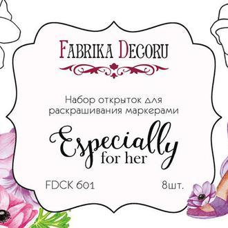 """Набор открыток для раскрашивания маркерами """"Especially for her"""""""