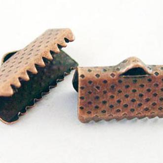 Концевики зажимы для лент железные, цвет медь УТ000000748