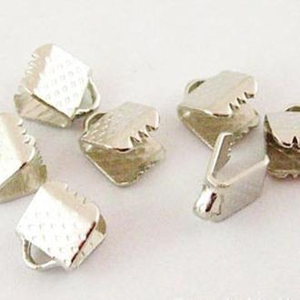 Концевики зажимы для лент железные, цвет платина УТ000004269