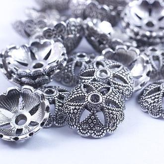 Шапочки для бусин металлические, цветок, цвет античное серебро УТ0028038