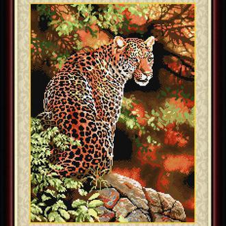 """Взгляд леопарда"" LasKo. Наборы для рисования камнями (на холсте)."