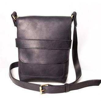 Мужская кожаная сумка Casual Bag через плечо, черного цвета
