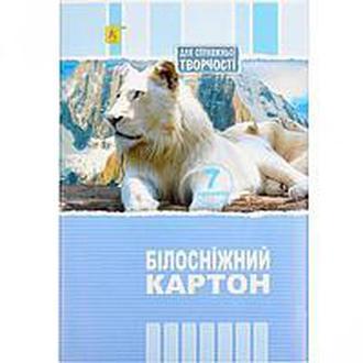 Белый картон А4 7 листов «Коленкор»
