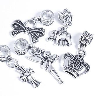 Шармы пандора с кулоном,   микс, металл, цвет античное серебро