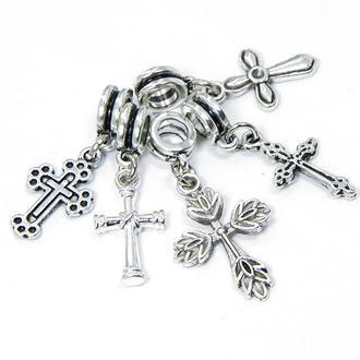 Шармы пандора с кулоном, крест, микс, металл, цвет античное серебро