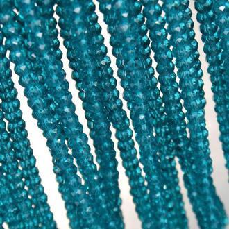 Бусины хрустальные (рондель) 2х2мм,  цвет прозрачный морская волна