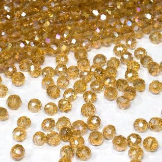 Бусины хрустальные (рондель) 4х3 мм,  цвет  светло-коричневый