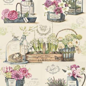 Декупажная карта Розы Лаванда Нарцисс Цветы Винтаж 52V 55 г/м2, А4, 210Х290 мм