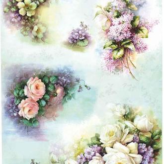 Декупажная карта Розы Краски Небо Цветы Винтаж 60V 55 г/м2, А4, 210Х290 мм