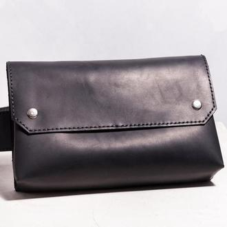 Женская кожаная сумка на пояс, черного цвета