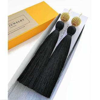 Длинные шелковые серьги-кисточки черные с золотом Lilei Jewelry