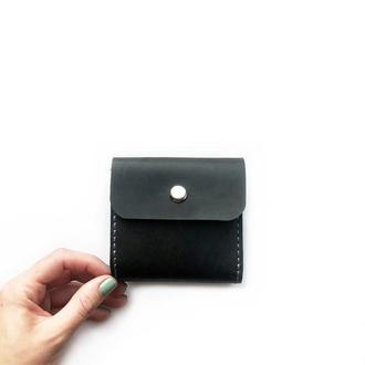 Кожаный кошелек унисекс  MINI серого цвета