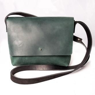 Женская кожаная сумка MINI через плечо, зеленого цвета