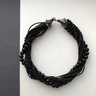 Колье жгут из жемчуга и бисера черного цвета
