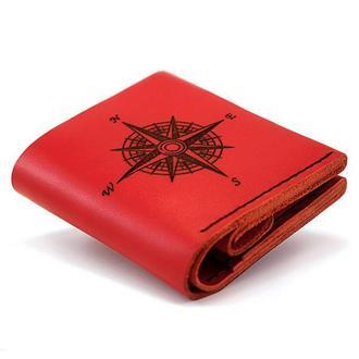 Женский кожаный кошелёк Square Compass — Красный + Подарок браслет с якорем. Натуральная кожа