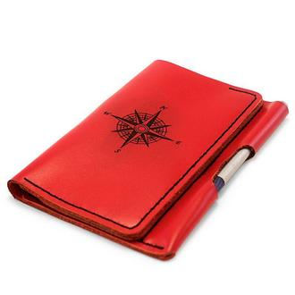 Женский кошелёк - портмоне для документов (Органайзер) WindWriter с гравировкой Compass - Красный