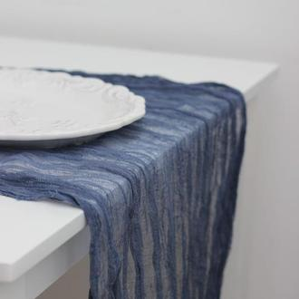 Пепельно-синий марлевий раннер ручного окрашивания для свадебного декора длина - 5м