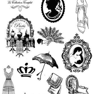 Декупажная карта Черно-белая мода Зонт Зеркало Кабашон Корона Винтаж 62V 55 г/м2, А4, 210Х290 мм