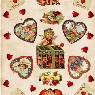 Декупажная карта Розы Сердце Ангелок Любовь Романтика Подарок Купидон 63V 55 г/м2, А4, 210Х290 мм