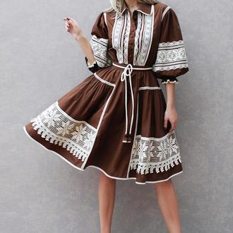 """Платье с кружевом """"Шоколадное""""  этно платье, нарядное платье, платье с поясом"""