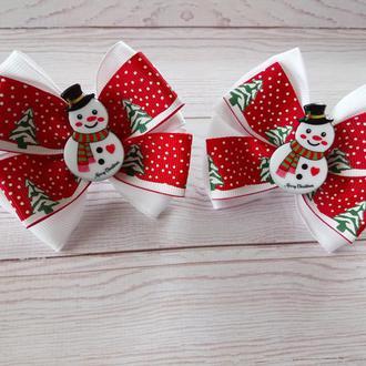 Новорічні бантики зі сніговичком (ціна за пару) Новогодние бантики Веселый снеговик