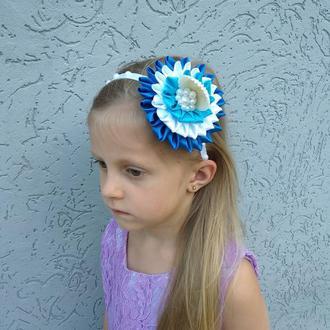 Ободок на голову в морском стиле Голубой обруч подарок девочке Украшение для волос на день рождение