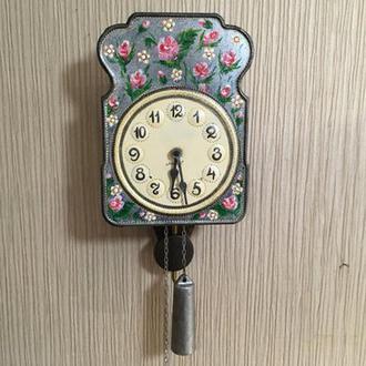 Расписные часы.Часы Цветы,ходики настенные механические