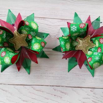 Бантики новорічні з зірочками, новогодние бантики с звездочкой (ціна за пару)