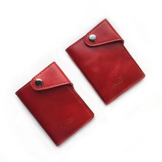 Кожаный кошелек на паспорт красного цвета