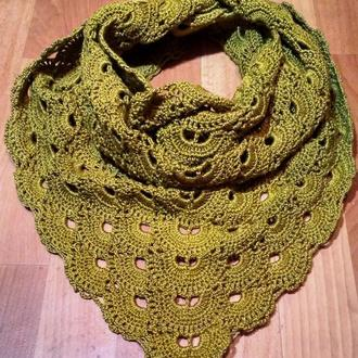Вязаный крючком ажурный шарф шаль. Бактус.