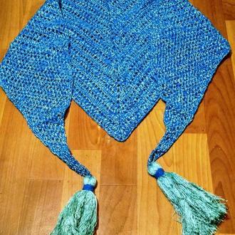 Вязаный крючком ажурный шарф шаль. Бактус с кисточками