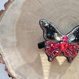 Заколка-зажим бабочка черно-красная
