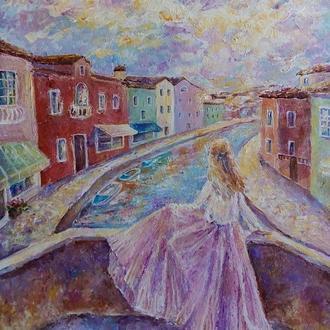 """Картина """"Захід сонця у Венеції"""" венеція захід дівчина на заході"""